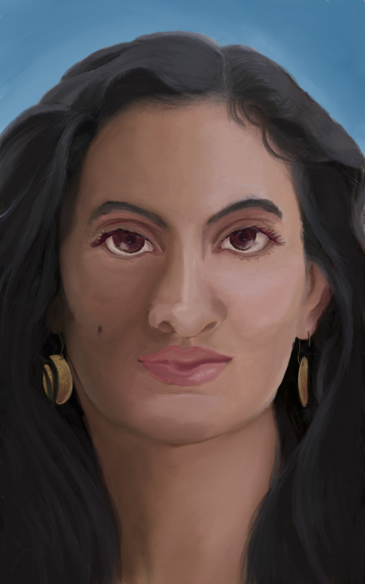 Facial approximation of skeletal remains from a Crusader-era burial site in Israel (Caesarea Maritima. Muslim burial, adult female who was buried with earrings (staining from the metal remained on the sides of the skull).