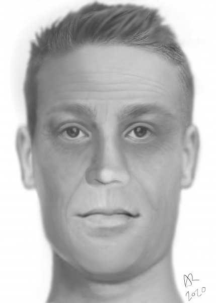 """Southeast Missouri State University's John Doe, now known to be """"Harry"""" - facial depiction from burned remains"""