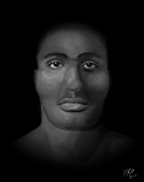 Facial depiction of 1860's tintype informed by anthropological analysis and historic research